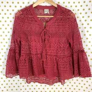 Paper Crane lace overlay blouse with cami size L